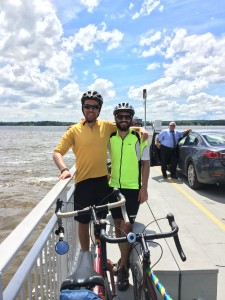Mischa and Evan on a ferry across the river